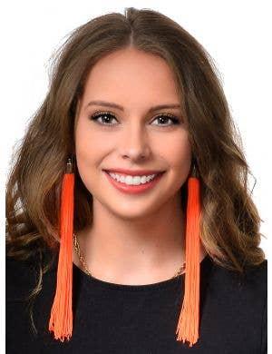 Long Neon Orange Tassel Earrings 80's Costume Jewellery