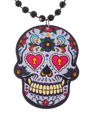 Day of the Dead Lavender Sugar Skull Necklace Costume Jewellery