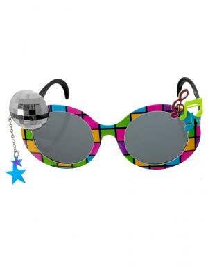 1980s Rainbow Coloured Novelty Disco Ball Costume Glasses
