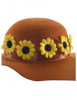 Floppy Brown 1970's Costume Hat with Yellow Daisies