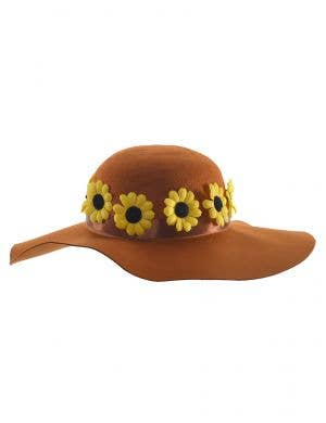 Brown Felt Hippie Hat with Yellow Daisies - Main Image