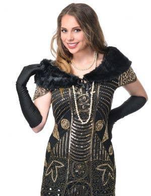 Black Faux Fur Women's 1920s Gatsby Fur Wrap Main Image