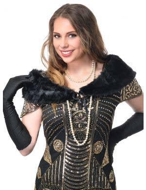 1920's Black Faux Fur Wrap Gatsby Costume Accessory