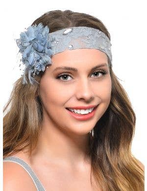 1920s Jewelled Grey Lace Headband With Side Flower