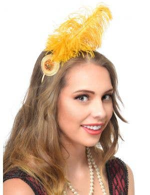Yellow Feather 1920s Flapper Headband Costume Accessory