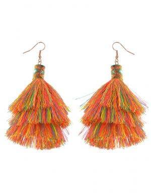 Rainbow Neon 70s Tassel Earrings