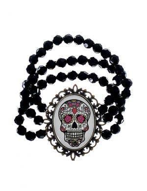 Sugar Skull Bracelet with Black Beads