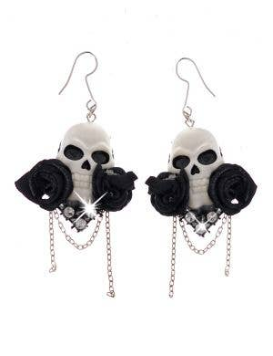 Floral Black and White Skull Costume Earrings