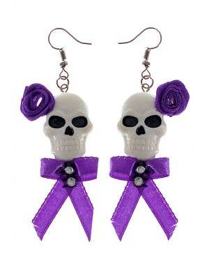 Purple and White Skull Floral Earrings