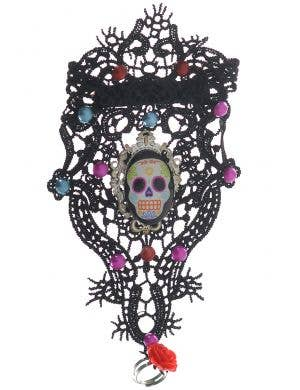 Black Lace Day of the Dead Sugar Skull Wrist Cuff