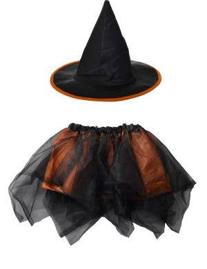 Witch Girl's Black and Orange Halloween Hat and Tutu Set