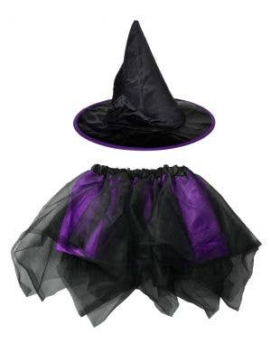 Witch Girl's Black and Purple Halloween Hat and Tutu Set