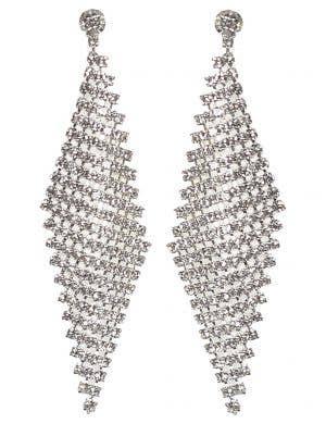 Glo Mesh Silver Disco Costume Earrings