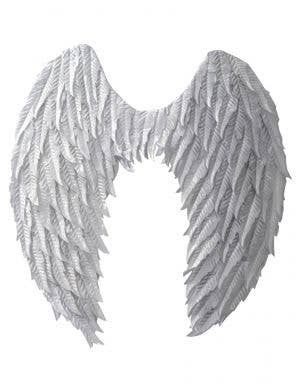 Large Metallic Silver Angel Wings Costume Accessory
