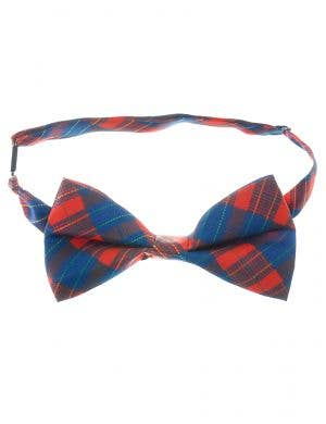 Red and Blue Tartan Bow Tie Costume Accessory