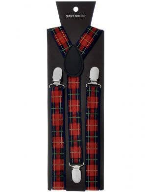 Red Tartan Costume Accessory Suspenders