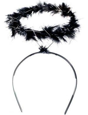 Black and Sliver Tinsel Angel Halo Costume Headband