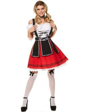 Red and Black Beer Girl Costume for Women - Front Image
