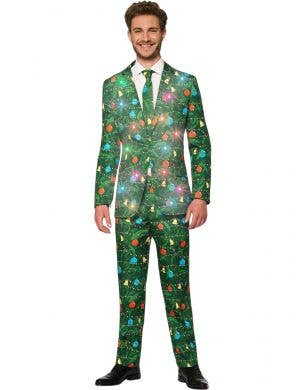 Men's Light Up Green Christmas Tree Costume Suit - Front Image