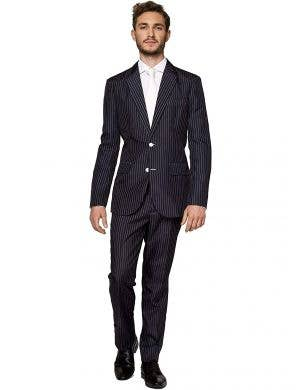 Men's Black and White Gangster Costume Suit - Front Image