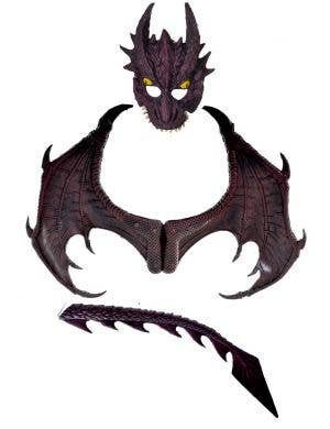 Deluxe Maroon Dragon Wings, Mask and Tail Costume Kit