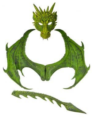 Vibrant Green Deluxe Dragon Wings, Mask and Tail Kit