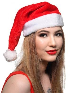 Fluffy Red and White Christmas Santa Hat