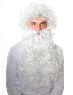 Jolly Santa Curly White Wig and Beard Accessory Set