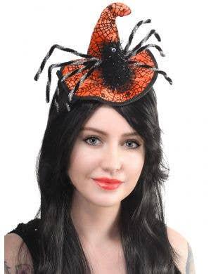 Orange Satin Mini Witch Hat with Black Spider