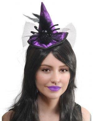 Mini Purple Witch Hat Costume Headband