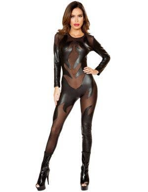 BLACK CATWOMAN SUIT ADULT  WOMENS FANCY DRESS HALLOWEEN COSTUME