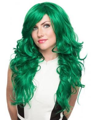 Women's Deluxe Long Emerald Green Curly Fashion Wig with Side Fringe Front Image
