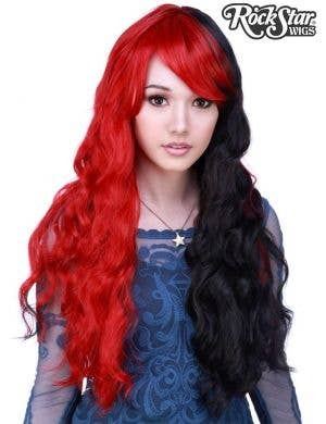 Half Red Half Black Women's Classic Wavy Rockstar Fashion Wig Front Image