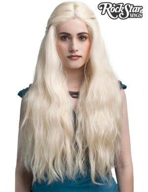 Deluxe White Blonde Daenerys Lace Front Fashion Wig Front Image