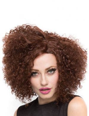 Disco Diva Women's Deluxe Lace Front Brown Curly Fashion Wig Main Image