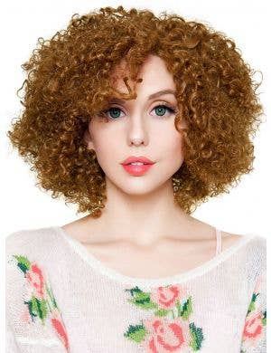 Medium Brown Womens Lace Front Curly Disco Diva Fashion Wig Front Image
