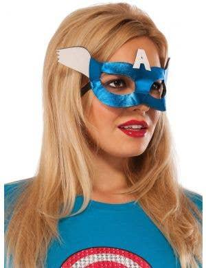 Captain America Women's Blue Costume Mask - Main Image