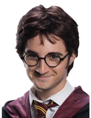 Short Brown Harry Potter Men's Costume Wig with Fake Scar Tattoo