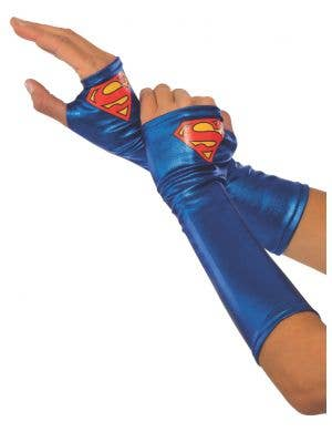 Officially Licensed Supergirl Metallic Blue Costume Gauntlets