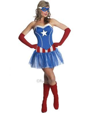 Sexy Women's Captain America Fancy Dress Costume - Main Image