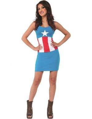 American Dream Women's Captain America Tank Dress Costume - Main Image
