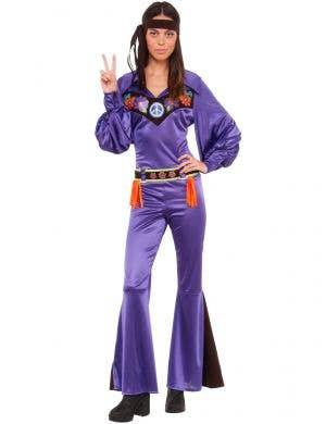 Deluxe Purple 1970s Hippie Babe Women's Costume - Main Image