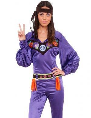 Bohemian Women's 70s Purple Hippie Babe Costume
