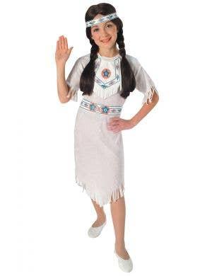 White Velvet American Indian Princess Girls Fancy Dress Costume