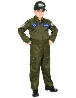 Military Uniform Top Gun Fighter Pilot Boys Book Week Fancy Dress Costume - Main Image