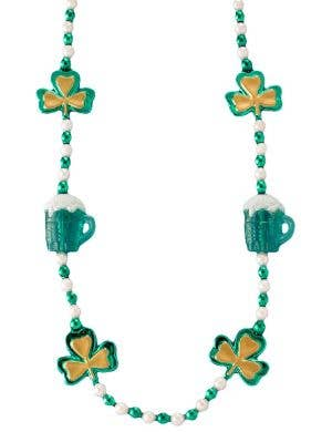 Green Shamrock And Beer Stain Plastic Beaded Costume Necklace View 1