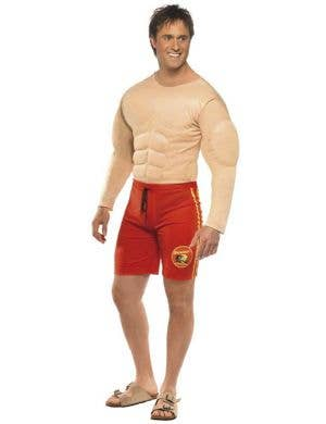 Novelty Men's Muscle Chest Baywatch Lifeguard Costume Front View
