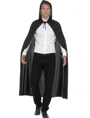 Long Black Hooded Halloween Costume Cape