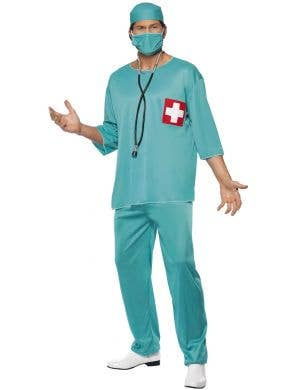 Adult's Surgeon Scrubs Fancy Dress Doctor Costume - Front View