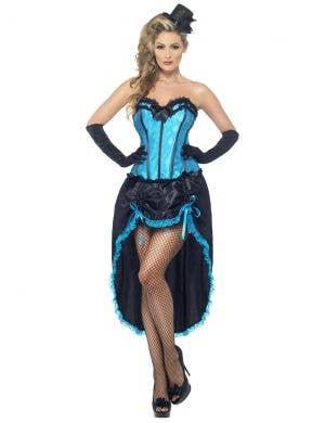 Women's Blue Burlesque Dancer Costume Front Image